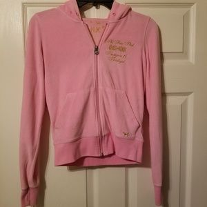 Pink Victoria's Secret full zip hoodie size xs